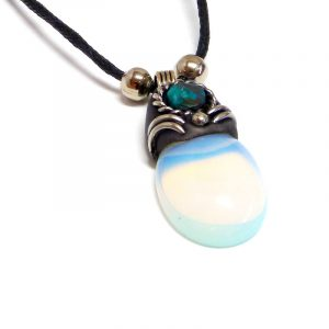 Handmade oval-shaped gemstone cabochon crystal pendant with resin, silver metal, and mini round chrysocolla stone on adjustable necklace in iridescent white opalite.