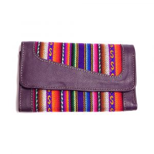 Handmade tribal print wallet with vegan leather, acrylic wool, magnetic snap closure, and multiple card slot compartments in dark purple.