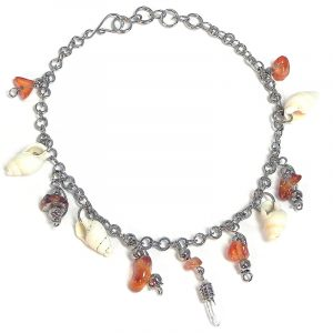 Handmade alpaca silver metal chain anklet with natural clear quartz crystal, chip stones, and natural seashell dangles in shiny orange color.
