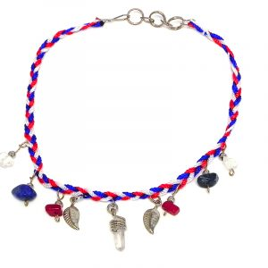 Braided macramé thread anklet with natural clear quartz crystal, chip stones, and silver metal leaf charm dangles in American flag USA colors.