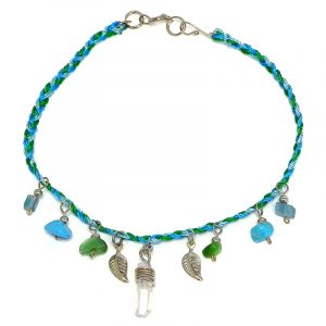 Handmade braided macramé thread anklet with natural clear quartz crystal, chip stones, and silver metal leaf charm dangles in turquoise blue, mint, and green color combination.