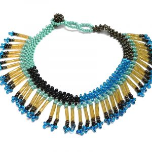 Handmade Czech glass seed bead anklet with multiple bugle beaded fringe dangles in turquoise mint, gold, blue, and black color combination.