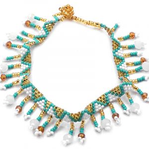 Handmade Czech glass seed bead and crystal bead anklet with tribal pattern design and beaded fringe dangles in white, turquoise mint, and gold color combination.