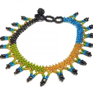 Handmade Czech glass seed bead anklet with V-shaped beaded fringe dangles in lime green, turquoise blue, gold, and dark brown color combination.