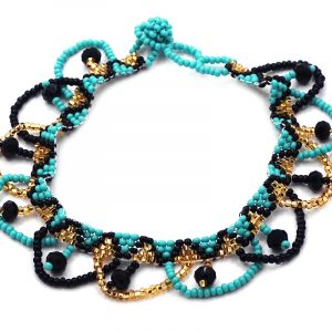 Handmade Czech glass seed bead and crystal bead anklet with tribal pattern design and beaded loop fringe dangles in turquoise mint, gold, and black color combination.