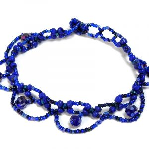 Handmade Czech glass seed bead and crystal bead loop anklet with beaded loop fringe dangles in blue, light blue, and dark blue color combination.