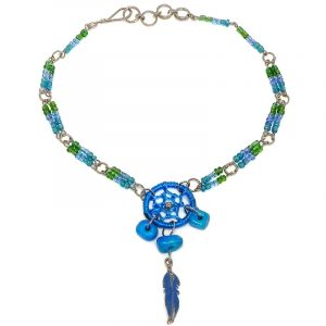 Handmade seed bead silver metal chain anklet with round thread dream catcher, chip stones, and colored metal feather charm dangle in turquoise blue, green, and purple color combination.