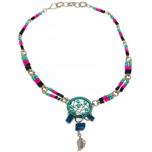 Handmade seed bead silver metal chain anklet with round beaded thread dream catcher, chip stones, and metal leaf charm dangle in mint green, teal, hot pink, and black color combination.