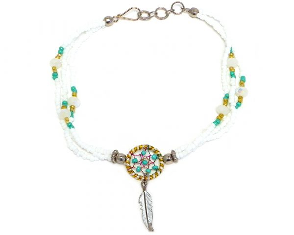 Handmade seed bead and crystal bead multi strand anklet with round beaded sparkle thread dream catcher and colored metal feather charm dangle in white, mint green, and gold color combination.