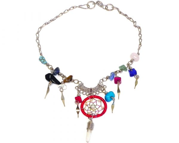 Handmade alpaca silver metal chain anklet with round beaded thread dream catcher, natural clear quartz crystal point, multicolored chip stones, and metal dangles in red and peach color combination.
