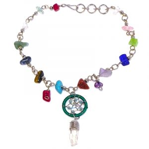 Handmade multicolored chip stone alpaca silver metal chain anklet with round beaded thread dream catcher and natural clear quartz crystal point dangle in green and mint color combination.