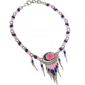 Handmade seed bead alpaca silver metal chain anklet with oval-shaped acrylic New Age themed flower graphic design and long beaded metal dangles in pink, blue, and dark gray charcoal color combination.