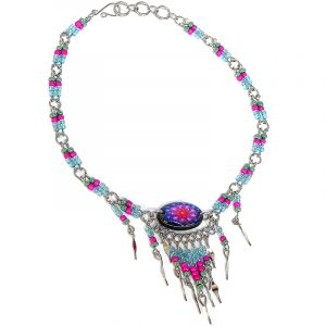 Handmade seed bead alpaca silver metal chain anklet with oval-shaped acrylic New Age themed flower graphic design and long beaded metal dangles in light blue, hot pink, light green, purple, and orange color combination.
