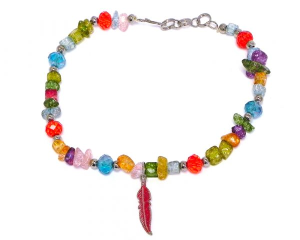 Handmade chip stone and crystal bead anklet with colored metal feather charm dangle in red and multicolored color combination.