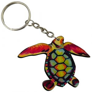 Handmade sea turtle acrylic graphic keychain on silver metal key ring in multicolored color combination.