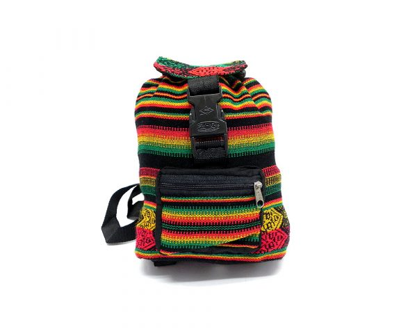 Mini lightweight backpack bag with multicolored tribal print striped pattern material (or manta Inca) in Rasta colors.