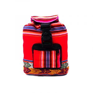 Handmade mini lightweight backpack bag with multicolored tribal print striped pattern material (or manta Inca) in red color.