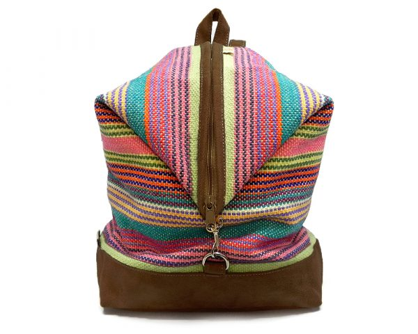 Handmade medium-sized woven convertible backpack purse bag with multicolored striped pattern wool and vegan leather suede in brown color.