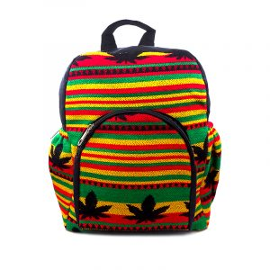 Small cushioned backpack bag with multicolored Aztec inspired tribal print striped pattern and pot leaf design material and vegan suede in Rasta colors.