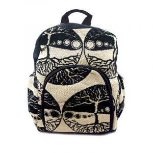 Small cushioned backpack bag with tree of life print pattern material and vegan suede in black and beige color combination.
