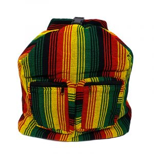 Woven lightweight hybrid messenger backpack bag with multicolored striped pattern in Rasta colors.