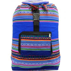 Handmade large lightweight backpack bag with multicolored tribal print striped pattern material (or manta Inca) in blue color.