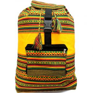 Handmade large lightweight Rasta backpack bag with multicolored tribal print striped pattern material (or manta Inca) in yellow color.