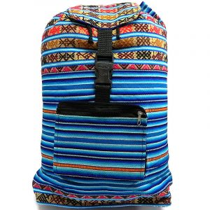 Handmade large lightweight backpack bag with multicolored tribal print striped pattern material (or manta Inca) in light blue, turquoise, brown, tan, red, black and white color combination.