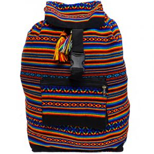Handmade large lightweight rainbow backpack bag with multicolored tribal print striped pattern material (or manta Inca) in black color.