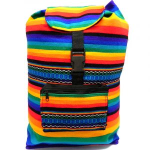 Handmade large lightweight rainbow backpack bag with multicolored tribal print striped pattern material (or manta Inca).