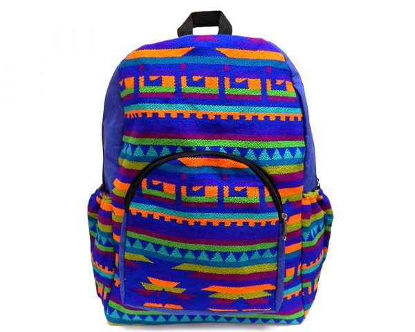 Handmade large cushioned backpack bag with multicolored Aztec inspired tribal print striped pattern material and vegan suede in blue, orange, lime green, burgundy, and turquoise color combination.