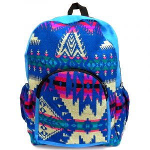 Handmade large cushioned backpack bag with multicolored Aztec inspired tribal print pattern material and vegan suede in turquoise, blue, pink, beige, and teal color combination.