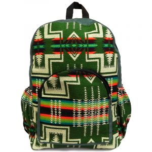 vHandmade large cushioned backpack bag with Aztec inspired tribal print pattern material and vegan suede in olive green, beige, orange, and multicolored color combination.