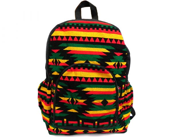 Handmade large cushioned backpack bag with multicolored Aztec inspired tribal print striped pattern material and vegan suede in Rasta colors.