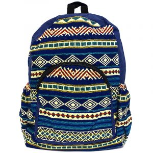 Handmade large cushioned backpack bag with multicolored Aztec inspired tribal print striped pattern material and vegan suede in navy blue, beige, yellow, dark red, and turquoise color combination.
