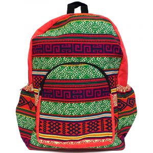 Handmade large cushioned backpack bag with multicolored Aztec inspired tribal print striped pattern material and vegan suede in red-orange, green, yellow, navy blue, and beige color combination.