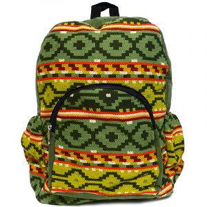 Handmade large cushioned backpack bag with multicolored Aztec inspired tribal print striped pattern material and vegan suede in olive green, lime green, red, beige, and orange color combination.