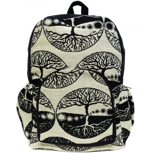 Handmade large cushioned backpack bag with tree of life print pattern material and vegan suede in black and beige color combination.