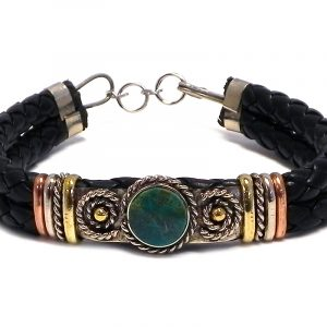 Handmade thick black braided leather bracelet with mixed metals and mini round stone cabochon centerpiece in teal green chrysocolla.