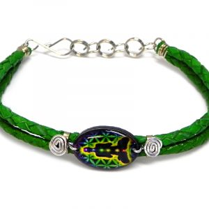 Handmade braided dyed leather bracelet with silver metal wire and oval-shaped acrylic New Age themed chakra flower of life graphic design centerpiece in lime green, black, and rainbow color combination.