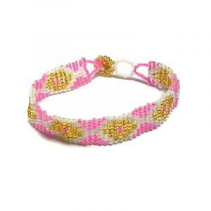 Handmade Czech glass seed bead thin strap bracelet with diamond pattern design in pink, white, and gold color combination.
