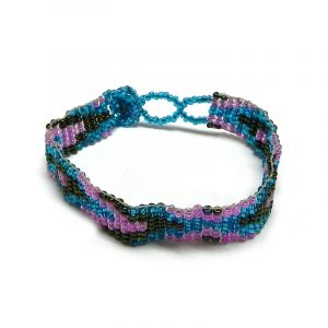 Handmade Czech glass seed bead thin strap bracelet with diamond pattern design in turquoise blue, pink, and iridescent color combination.