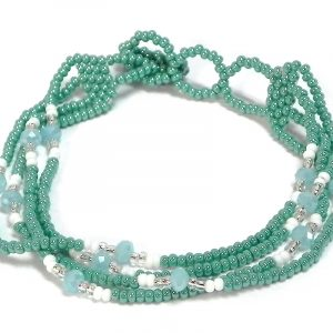 Handmade Czech glass seed bead multi strand bracelet with mini crystal beads in turquoise mint, light blue, white, and silver color combination.