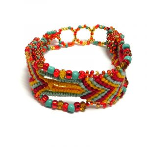 Handmade thick woven braided macramé wide strap bracelet with Czech glass seed beads and crystal beads in turquoise mint, red, and golden yellow color combination.