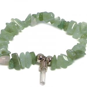 Handmade natural chip stone gemstone stretchy bracelet with clear quartz crystal point dangle in green aventurine.