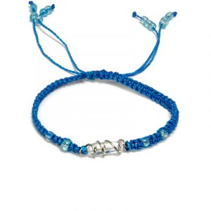 Handmade macramé braided string pull tie bracelet with silver metal wire wrapped clear quartz crystal centerpiece in turquoise blue color.