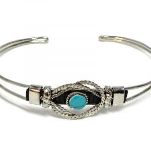 Handmade silver metal cuff bracelet with mini round-cut gemstone crystal cabochon centerpiece in turquoise blue howlite,