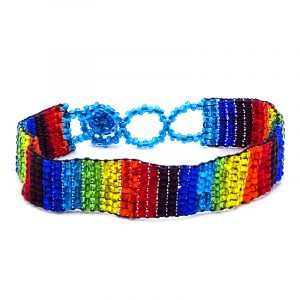 Handmade Czech glass seed bead thin strap bracelet with vertical striped pattern design in rainbow colors.