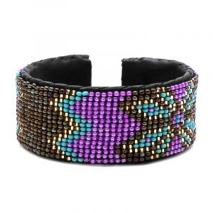 Handmade Czech glass seed bead black leather cuff bracelet with tribal flower pattern design in pink, brown, gold, and turquoise mint color combination.