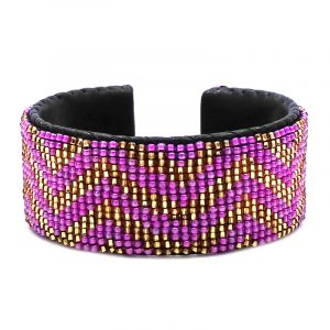 Handmade Czech glass seed bead black leather cuff bracelet with chevron striped pattern design in pink and gold color combination.